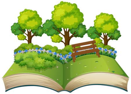 Isolated open book nature theme illustration Stock Illustratie