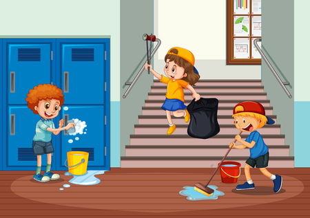 Volunteer kids cleaning school hallway illustration