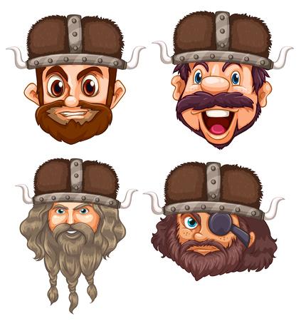 Zestaw ilustracji głowy wikinga