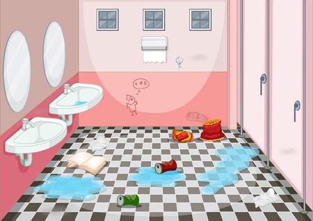 Interior design of dirty toilet illustration