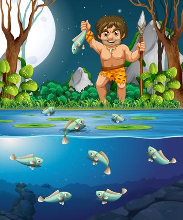 A caveman catching fish illustration