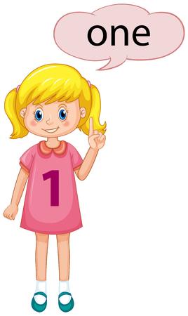 Girl with number one illustration Standard-Bild - 121752128
