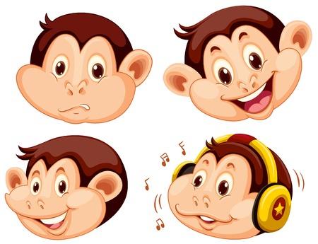 Set of monkey cartoon head illustration