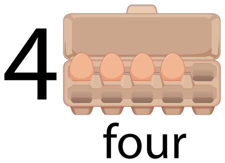 Four egg in carton illustration