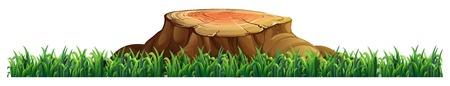 Isolated tree stump on white background illustration Çizim