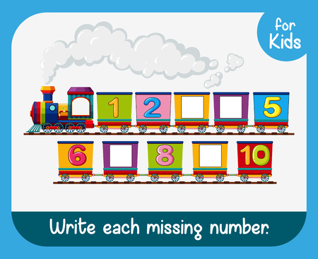 Write each missing number worksheet illustration