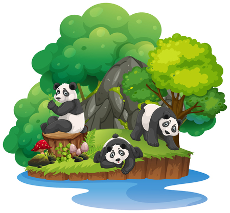 Isolated nature island with panda illustration Ilustração