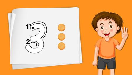 Number three on orange template illustration
