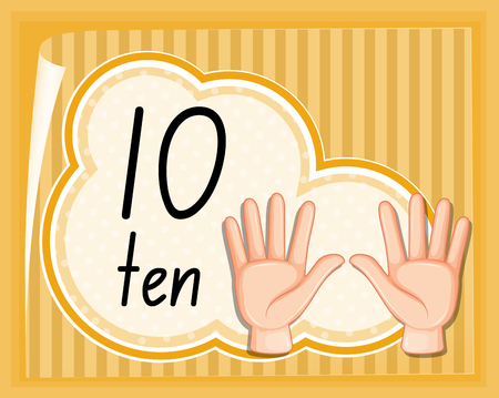 Han gestur number ten illustration Standard-Bild - 121752213