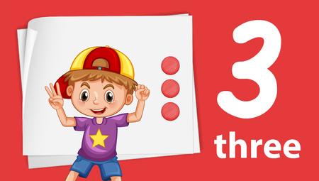 Boy on number three template illustration