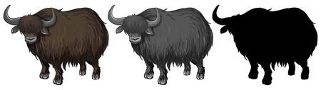 Set of yak character illustration Vecteurs