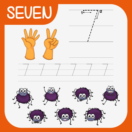 Math writing practise number seven illustration