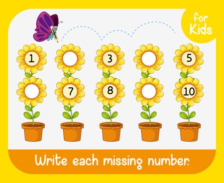 Write missing number worksheet illustration