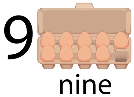 Nine egg in carton illustration