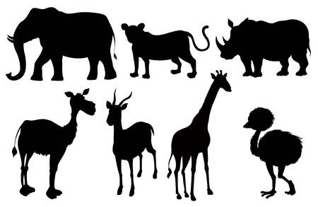 Set of silhouette exotic animals illustration