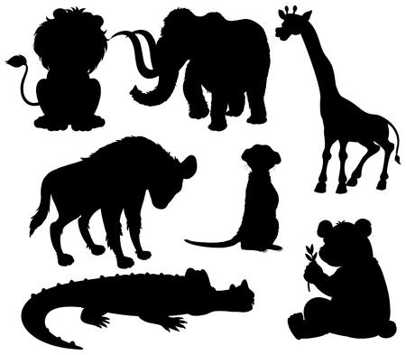 Set of silhouette wild animal illustration Illustration