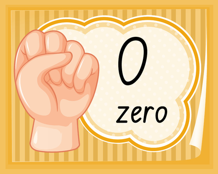 Hand gesture number zero illustration