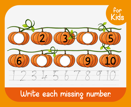 Write each missing number worksheet illustration  イラスト・ベクター素材