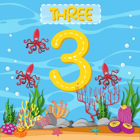 Number three underwater theme illustration