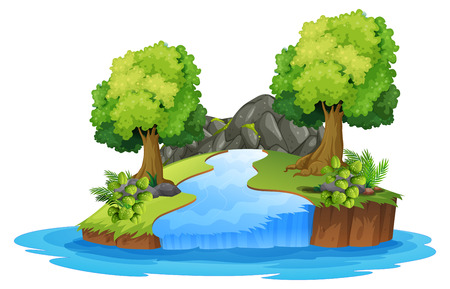 Set of isolated river landscape illustration