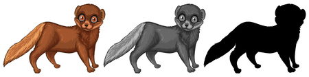 Set of weasel character illustration Foto de archivo - 115721489