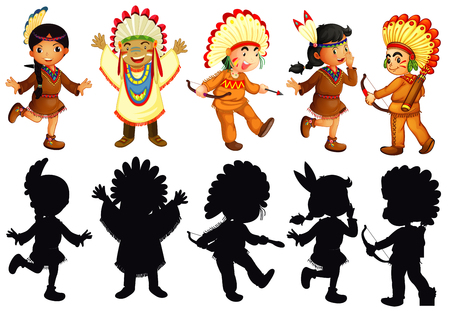 Set of native american character illustration