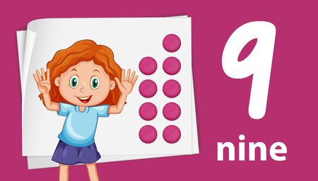 Girl on number night template illustration