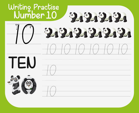 How to write number ten worksheet illustration Standard-Bild - 121752337