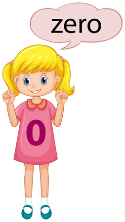 Girl counting number zero illustration