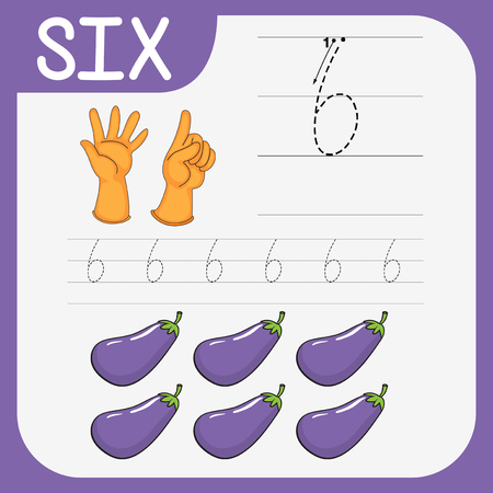 Math writing practise number six illustration