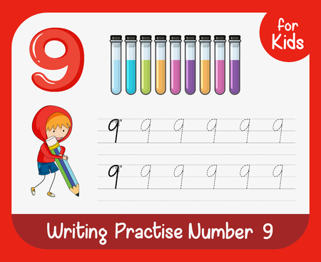 Number nine tracing worksheets illustration Vettoriali