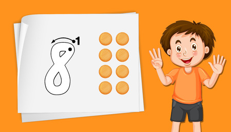 Boy with number eight tracing worksheets illustration