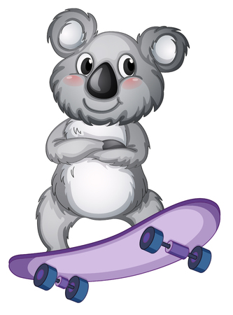 A koala playing skateboard illustration