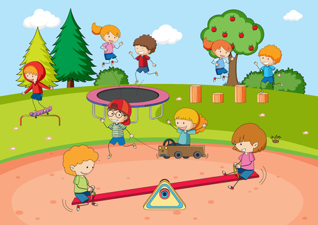 Children playing at playground illustration Vectores