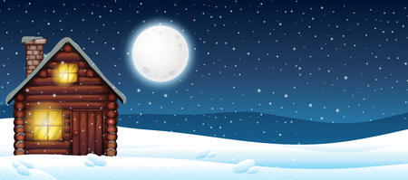 Cabin in the snow illustration