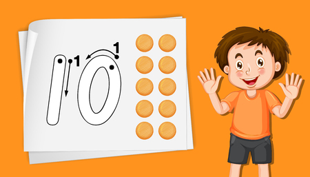 Boy with number ten tracing worksheets illustration