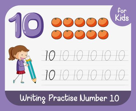 Number ten tracing worksheets illustration
