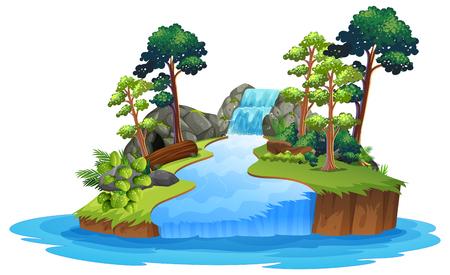Cascata isolata della natura sull'illustrazione bianca del fondo