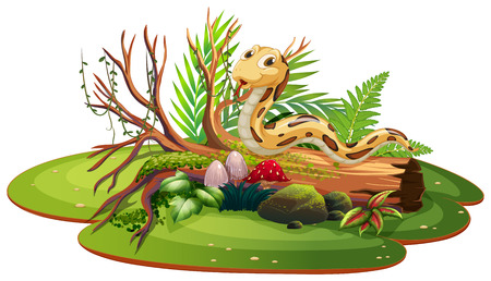 Snake in isolated nature illustration Stock Illustratie