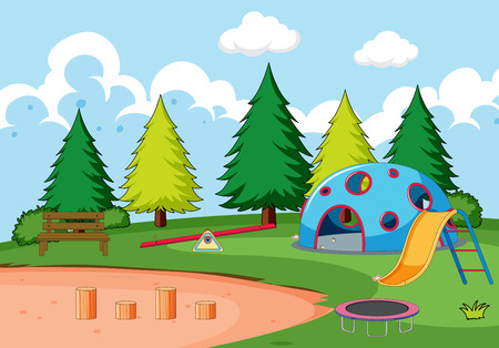 Playground equipment in park illustration
