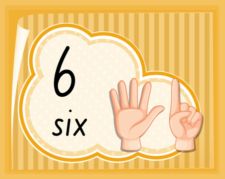 Number six hand gesture illustration
