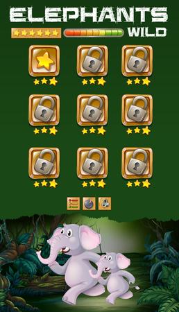 Wild elephant running game template illustration