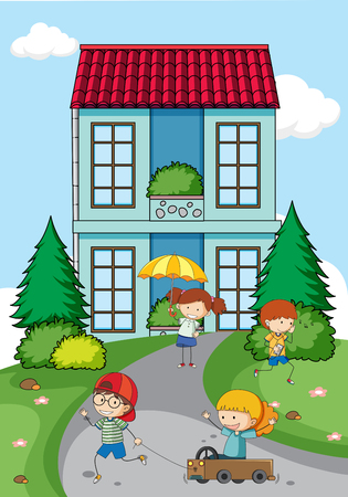 Children playing in front of house illustration