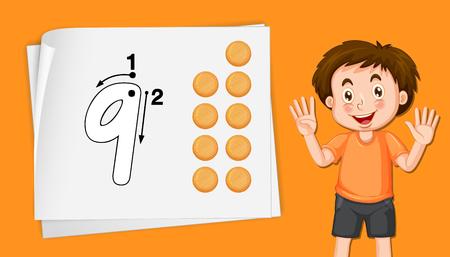 Boy with number nine tracing worksheets illustration Illustration