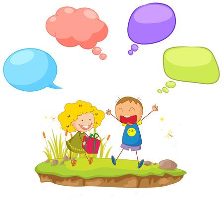 Doodle children with  speech balloon illustration