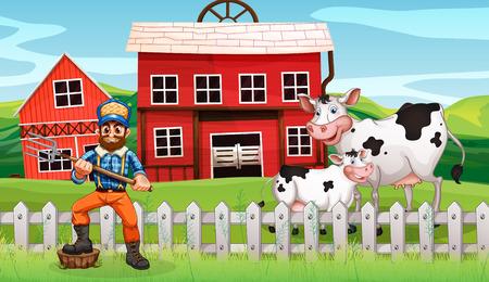 A farmer in rural scene illustration  イラスト・ベクター素材