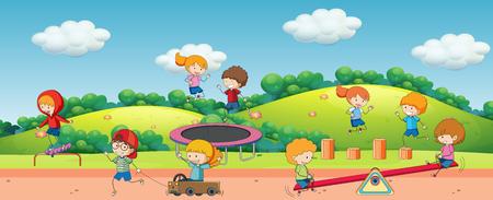 Children playing in playground illustration  イラスト・ベクター素材
