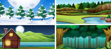 Set of nature landscape illustration Vectores