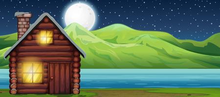 Cabin house at night scen illustration
