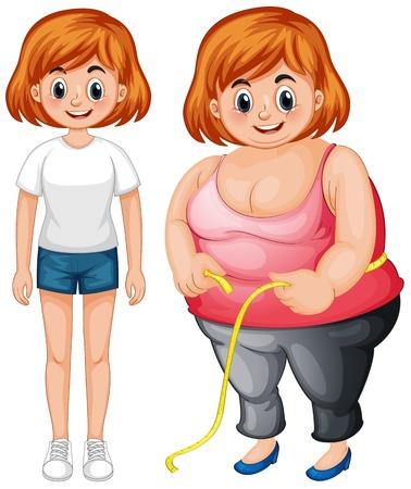 Mädchen mit schlanker und fetter Körperillustration Vektorgrafik